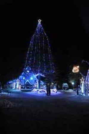 Santa's Village: Main Street at night