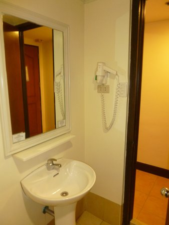 Fersal Hotel Diliman : Sink & Hair Dryer