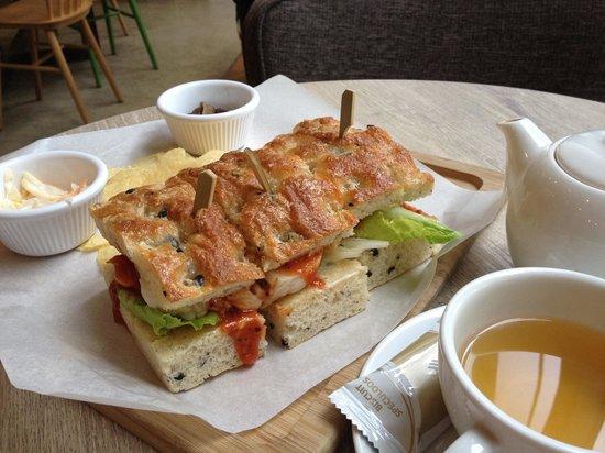 Cafe Crema: Chicken and mushroom ciabatta