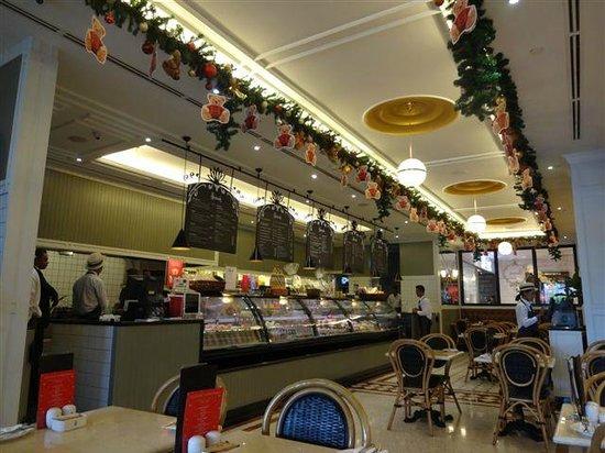 Harrods Cafe interior - display of salad/sandwich fillings on offer