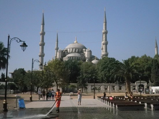 Hotel Darussaade Istanbul: Mesquita Azul, vista do terraço do hotel