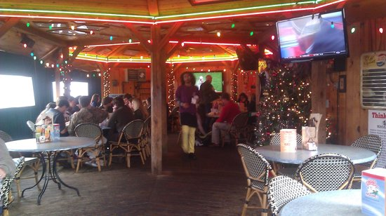 Macado's: outdoor bar area, complete with tent and heated for the winter