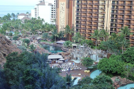Aulani, a Disney Resort & Spa: View of the pools and grounds