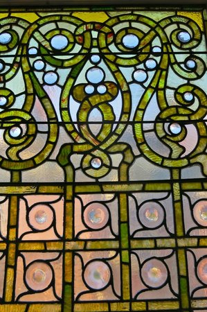 The Inn on Ferry Street: detail of glass window of Roehm House