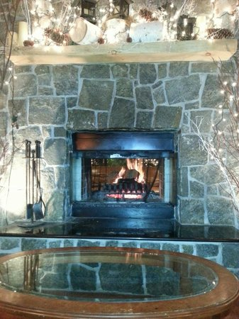 High Peaks Resort: Nice fireplace in lobby area.  Nice way to end the night.