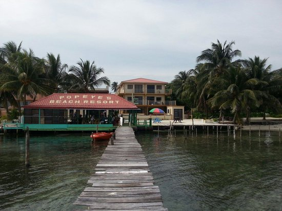 Popeyes Beach Resort: The red roof is the restaurant