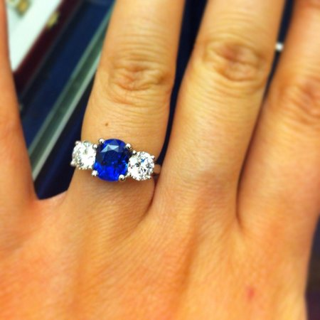 Galle, Sri Lanka: One of our another creations. Beautiful Ceylon Blue Sapphire and Diamond engagement ring made to