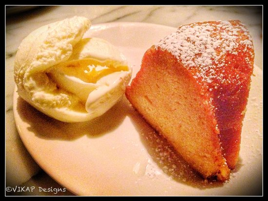 The Stinking Rose : The Rum Cake for dessert.
