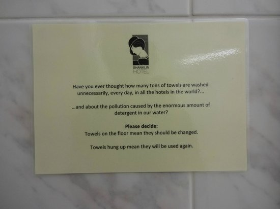 Shanklin Hotel: notice in the toilet