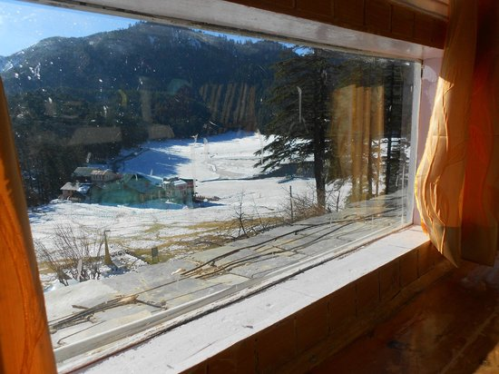 The Devdar: the snow filled khajjiar valley from our room#1