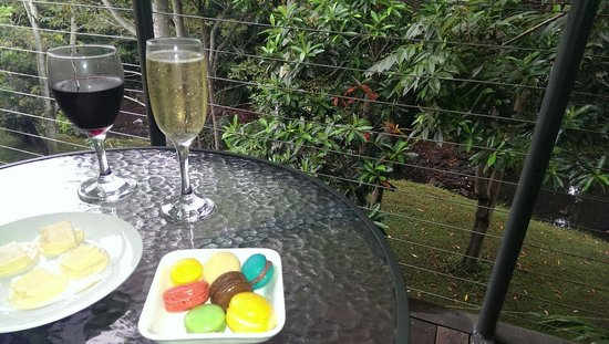 Pomodoras on Obi: Deck out back obi obi creek with bubbles and yummy treats.  Spoilt a lot