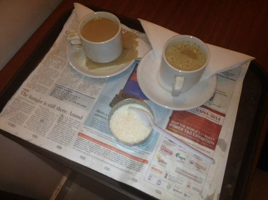 The Gopinivas Grand Kanyakumari: Horrible in-room service.. dirty old newspaper and spilled coffee