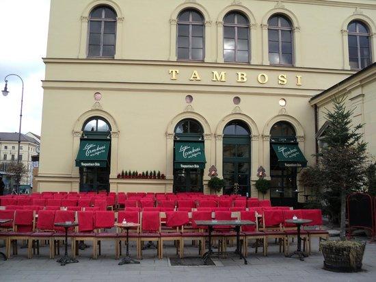 Tambosi : sillas en el exterior para disfrutar la vista de la plaza de los héroes y la Theatinerkirche
