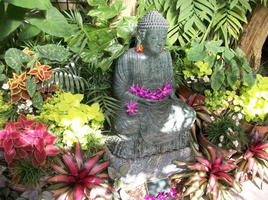 Marie Selby Botanical Gardens: One of the cool statues in the koi pond