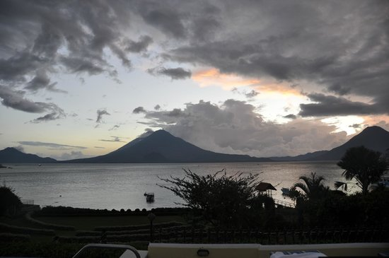 Hotel Atitlan: view of volcanoes from patio