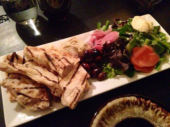 Saalt Pub: Middle eastern platter appetizer. Amazing pita and various spreads!