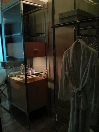 "Andaz 5th Avenue: The mini-bar (note ""closet"" size)"