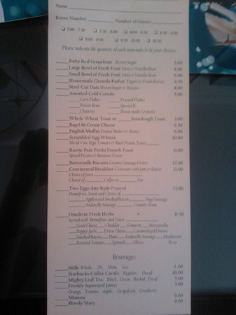 Kimpton Hotel Monaco Seattle: breakfast menu