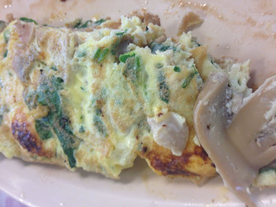"""Betsy's Pancake House: Veggie Omelet.... Server said, """"Yes, we only use Fresh Mushrooms!"""" ...Fresh Mushrooms from a can"""