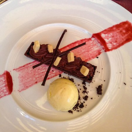 Amaya: Deconstructed Yule Log with Eggnog Ice Cream