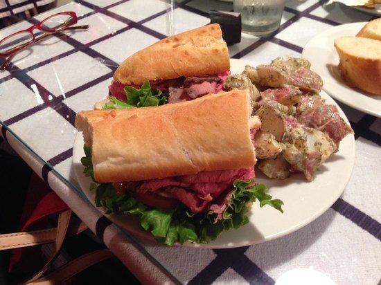 Gourmet Shop Cafe: Roast Beef on baguette with tarragon potato salad.