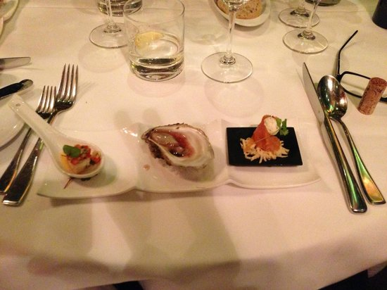 Le Saint-Amour : The Amuse-bouches trilogy: oyster, homemade smoked salmon, scallop