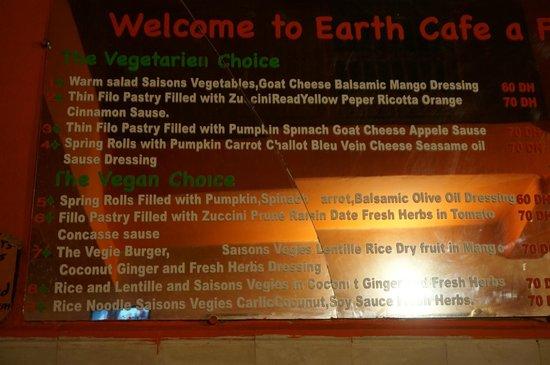 Earth Cafe Marrakech Menu