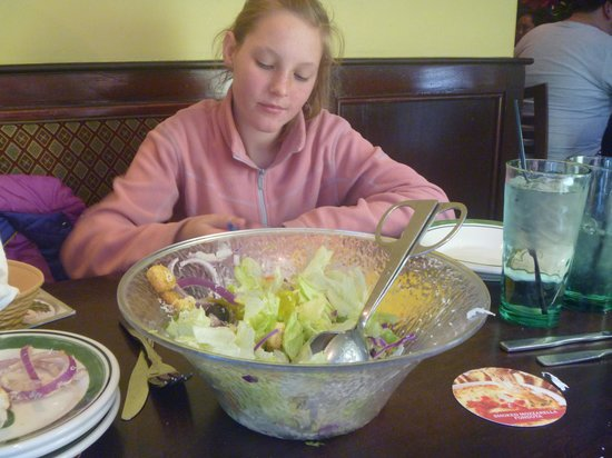 Olive Garden: large bowl of salad