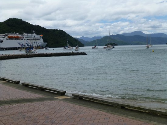 Interislander Cook Strait Ferry: Looking back at the ferry in Picton dock