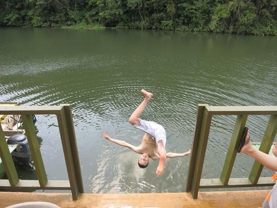 Jungle Land Panama Floating Lodge: Jumping off the floating lodge.