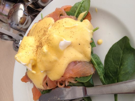 Blackwater Trading Co: Eggs Benedict with Salmon $19.95 with surcharge