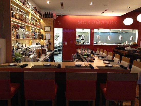 Mokomandy interior looking at bar and kitchen