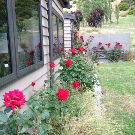 Mt Rosa Lodge: Garden outside Gibbston Suite
