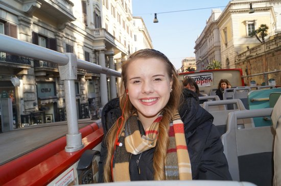 Roma Cristiana Hop On Hop Off Bus: Michaela was happy to be riding instead of walking...