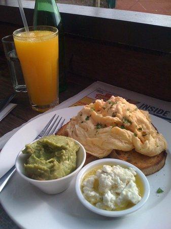 Mart 130: Scrambled Eggs, Avocado, Feta, Fresh Orange Juice