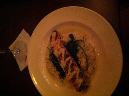Filomena Lakeview: Salmon Dijonaise (covered in mustard seeds) on a bed if risotto with spinach