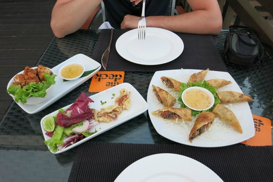 """""""The Deck"""" Tapas Bar: Delicious Crispy Chicken, Spring rolls and Squid"""