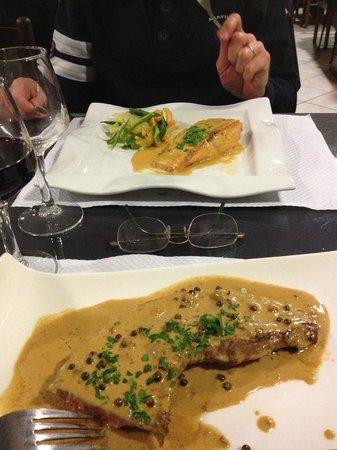 Restaurant d'Angleterre: Salmone e Entrecote al pepe verde