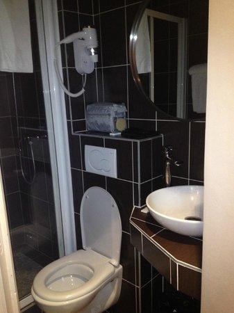 Hotel Trocadero: bagno essenziale senza bidet ma con grande doccia