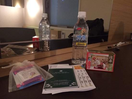 Super Hotel LOHAS Tokyo Station Yaesu Chuo-guchi: We got a free soap horse because we checked in on New Year's Day, a bottle of water and a pack o