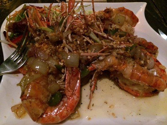 Charming: Jumbo River Prawns were fresh and huge! (Dinner fork for comparison in pic)
