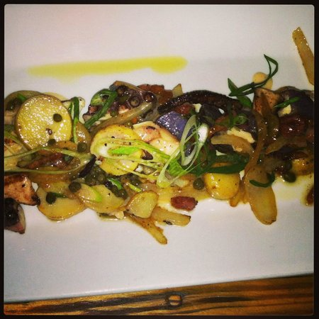 Wild Olive: Charred octopus with creamer potatoes, spring onion, capers, pancetta