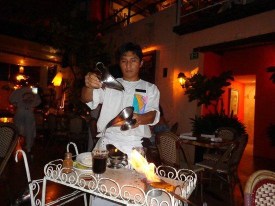Pancho's: flaming coffee preparation