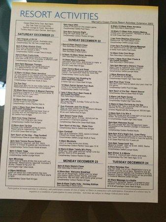 Marriott's Ocean Pointe: List of Weekly Activities