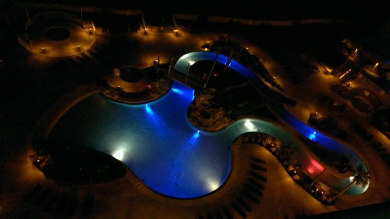 Holiday Inn Resort Pensacola Beach: A view of the pool at night from the 9th floor.