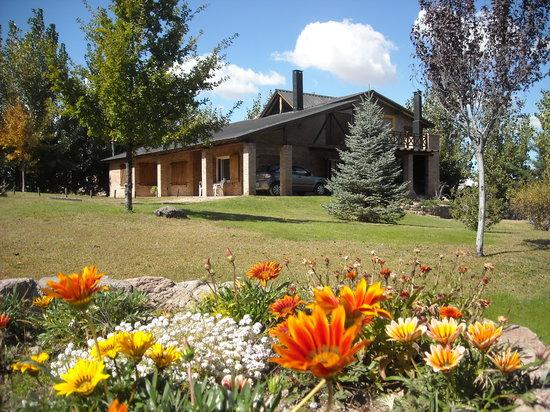 Casona y Cabanas Rio Mendoza: Parque, flores, Casona