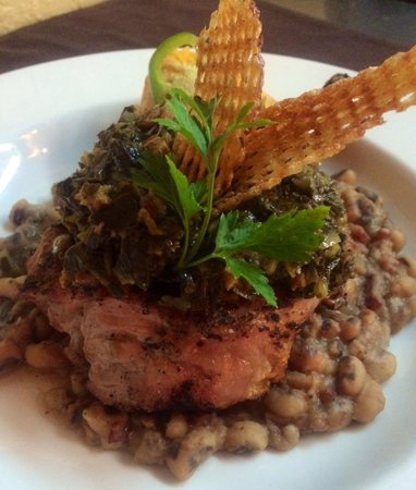 Cafe Azalea: Pork chop, black eyes peas, bacon collard greens and jalapeño cheddar cornbread