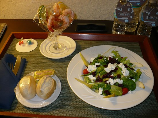Sheraton Tampa Riverwalk Hotel : Room service: shrimp cocktail, pear & goat cheese salad