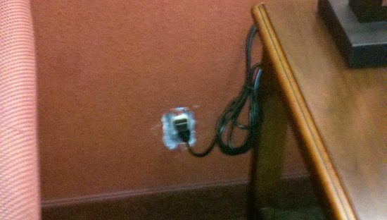 Chateau Suite Hotel, Downtown Shreveport: Living room area / outlet cover missing