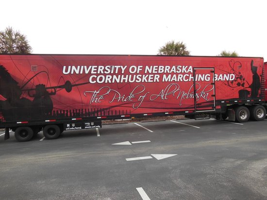 Fairfield Inn & Suites Jacksonville Beach: Fairfield Inn & Suites - the Nebraska Cornhuskers bus in the parking lot
